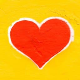 Painting of a heart on a wall
