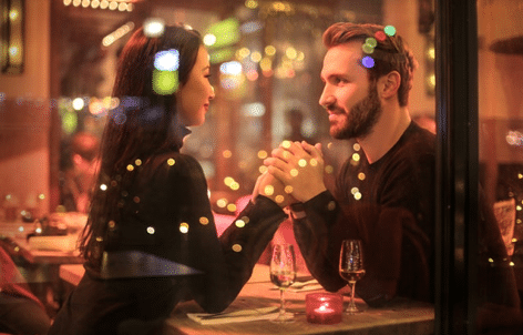 Young couple on a dinner date